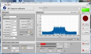 RFキャプチャソフトウェアでスペクトラムを表示しているスクリーンショット
