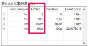 各ファイルの表示位置オフセットを設定